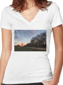 Soft Orange Glow - US Capitol and the National Mall at Sunset Women's Fitted V-Neck T-Shirt