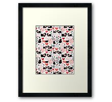 Graphic pattern of funny cats lovers Framed Print