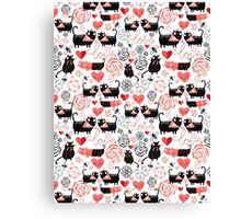 Graphic pattern of funny cats lovers Canvas Print