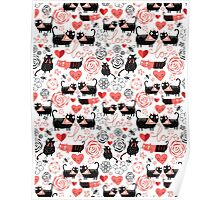 Graphic pattern of funny cats lovers Poster