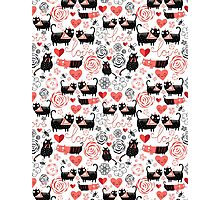 Graphic pattern of funny cats lovers Photographic Print