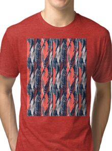 graphic pattern of feathers Tri-blend T-Shirt