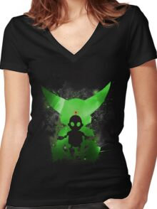 Ratchet & Clank Galaxy (Green Version) Women's Fitted V-Neck T-Shirt