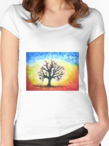 The Prismatic Tree of Life Women's Fitted Scoop T-Shirt