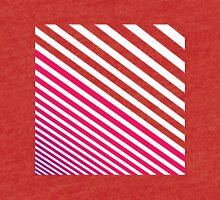 Modern Pinkish Red Linear Stripes and White Tri-blend T-Shirt
