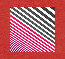 Modern Pinkish Red Linear Stripes White and Gray Tri-blend T-Shirt