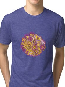Purple and yellow flower pattern Tri-blend T-Shirt