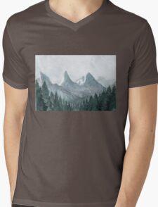 Blue mountains Watercolor Illustration Mens V-Neck T-Shirt