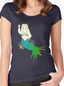 Pretty Mythical Mermaid Illustration Women's Fitted Scoop T-Shirt