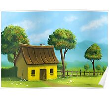 Peaceful yellow house Poster