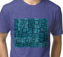 Turquoise and Black Retro Design - by Maria Eames Tri-blend T-Shirt