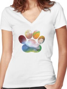 Dog Paw Art Women's Fitted V-Neck T-Shirt