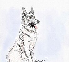German Shepherd Love by Diane  Kramer