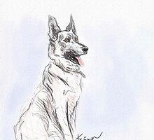 German Shepherd Love by Diane  Kramer