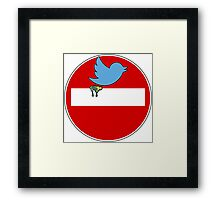 Twitter sign parody Framed Print