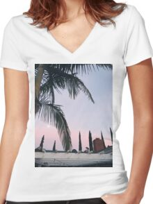 Pink Sky Women's Fitted V-Neck T-Shirt