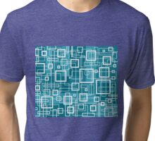 Turquoise and White Retro Design - by Maria Eames Tri-blend T-Shirt