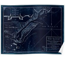 American Revolutionary War Era Maps 1750-1786 208 A plan of the attack of Fort Sulivan near Charles Town in South Carolina  by a squadron of His Majesty's Inverted Poster
