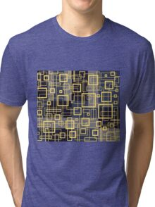 Black Yellow and Gray Retro Design - by Maria Eames Tri-blend T-Shirt