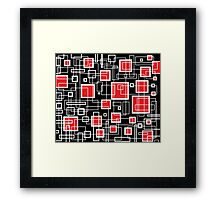 Black White and Red Retro Design - by Maria Eames Framed Print