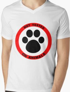 No Animal Testing Mens V-Neck T-Shirt
