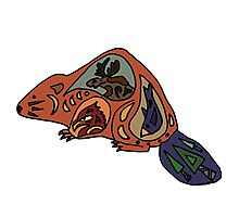 Cool Funny Beaver Tribal Art Photographic Print