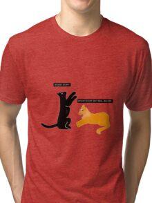 X-files Cats: Spooky stuff isn't real, Mulder Tri-blend T-Shirt