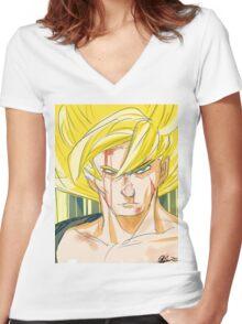 Super Saiyan Goku Women's Fitted V-Neck T-Shirt