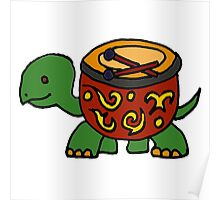 Funny Cool Turtle with Bongo Drum Shell Poster