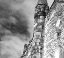 Phantasmagoria ~ Black & White Gothic Church Image  ~ St Mary's Church, Bagillt Sticker