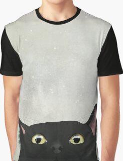 Curious Black Cat Graphic T-Shirt