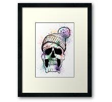 Pastel Skull on White Framed Print