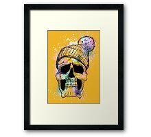 Pastel Skull on Orange Framed Print