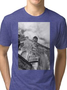 Phantasmagoria ~ Black & White Gothic Church Image  ~ St Mary's Church, Bagillt Tri-blend T-Shirt