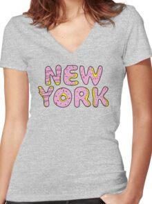Sweet New York Women's Fitted V-Neck T-Shirt