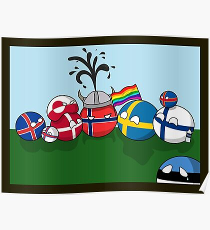 Polandball - Nordic family portrait  Poster