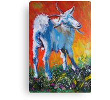 White goat painting - scratching my back Canvas Print