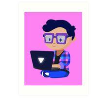 Cute Hipster Geek Art Print