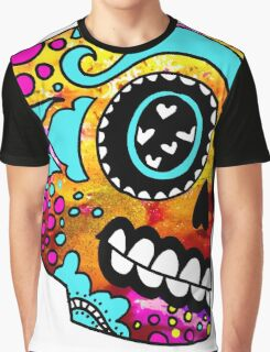Happy Little Color Splash Sugar Skull Graphic T-Shirt