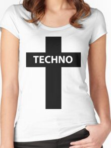 TECHNO MUSIC Women's Fitted Scoop T-Shirt