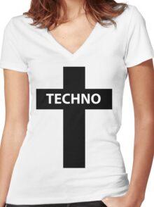 TECHNO MUSIC Women's Fitted V-Neck T-Shirt