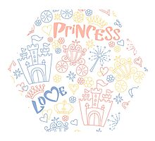 Pink and blue pattern of little princess doodles Photographic Print