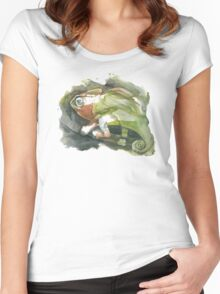Chameleon, watercolor Women's Fitted Scoop T-Shirt
