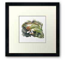 Chameleon, watercolor Framed Print