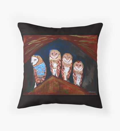 Clever Little Barn Owls Throw Pillow