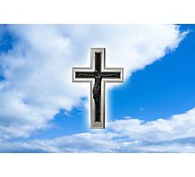 Christian cross at blue sky background Photographic Print