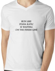 Run like Stana Katic Mens V-Neck T-Shirt