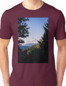 Mt Hood through the trees Unisex T-Shirt