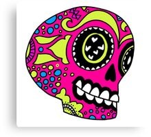 Happy Pink Sugar Skull Canvas Print