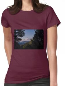 Mt Hood through the trees Womens Fitted T-Shirt